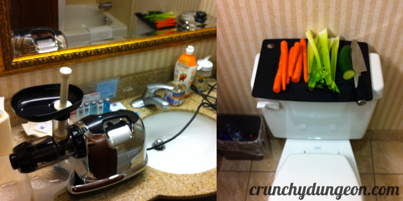 Crunchy Dungeon Cover - juicing in bathroom